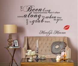 Wholesale Marilyn Monroe Wall Lips - Marilyn Monroe Lip I've Been Lucky Vinyl Wall Art Decals Quotes Saying Home Decor Christmas Wall Stickers