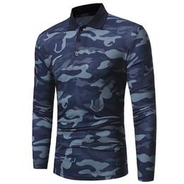 Canada 2017 automne et en hiver nouveau revers de camouflage classique hommes à manches longues T-shirt à manches longues boutons de grande taille chemise Slim cheap large lapel button Offre