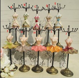 Wholesale Dress Jewelry Stands - 10 style Dress Doll Mannequin Necklace Earring Ring Holder Jewelry Stand Rack