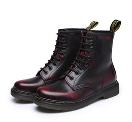 Wholesale Snow White Top - Free shipping 2017 Quality Dr Genuine Leather shoes men and women Boots High Top Martin Motorcycle Autumn Winter shoes Lover snow Boots