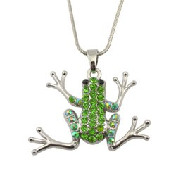 Wholesale Wholesale Flower Frogs - 30pcs lot silver plated green crystal necklace with rhinestone jewelry animal frog pendant necklaces snake chain charms