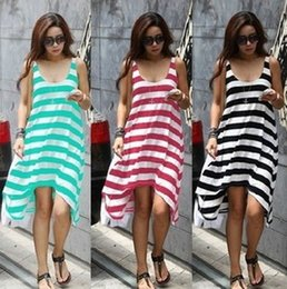 Wholesale Fast Casual Wear - Fashionable Striped Women Beach Dress Spring 2014 New Loose Casual Women Summer Dress Fast Shipping Cute Girl Mini Dress D6561