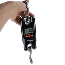 Wholesale Lcd Hook Scale - 300kg Mini Portable Crane Scale LCD Display Digital Electronic Hook Hanging Scales l lage with White Backlight Black color WH-C003