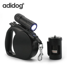 Wholesale Lights For Dog Harness - 2017 New Pet Dog Leash Led Light & Clean -Up Bag Retractable Leash For Small Medium Dogs Collar Products Harness Strong Chain R