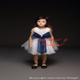 Wholesale Cheap Autumn Wear Kids - Pettigirl New Fashion Girls Party Dresses Rosed Bodice With Navy Big Bow Tulle Dress Girls Party Wear Kids Clothes Wholesale Cheap GD40514-4