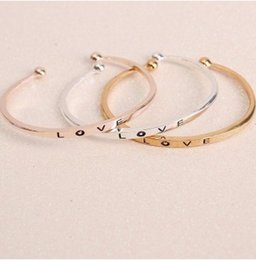 Wholesale Gold Open Cuff Bracelet - LOVE Bracelet Bangle Open Cuffs for Women Creative Stretch Alloy Gold Silver Rosegold Plated Bracelet Bangle Cuffs