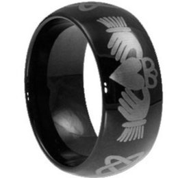 Wholesale Claddagh Bands - 8MM Black Claddagh Ring Stainless Steel Size 7-15 Heart Irish Wedding Celtic Engagement Cocktail School