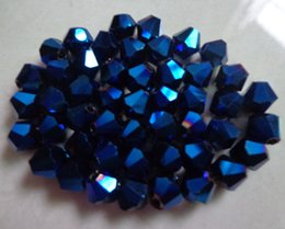 Wholesale Wholesale Glass Art Teardrops - Free shipping 1000pcs 6 mm Deep blue AB double cone crystal glass beads arts and crafts