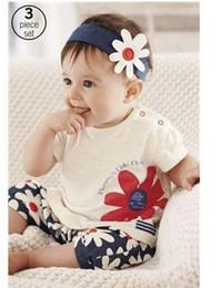 Wholesale Sunflower Pants - Children Summer Girls Hair Band Three-Pieces Set (Headdress+shirt+pants) 100% Cotton Baby girl Baby Sunflowers Headdress Suit Clothes B001
