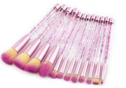 Wholesale Wholesale Crystal Cosmetic Brushes - Newest 12pcs Crystal Makeup Brush With Diamond Makeup Brushes Glitter Handle Pink Professional Cosmetic Tool set BB Cream Eyeshadow DHL SHip