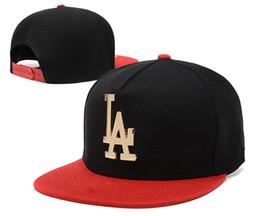 Wholesale metal logos hats - Wholesale Men's Women's Snapback Baseball Caps Adjustable Basketball Hats Hip Hop Street Metal LA Logo Flat Baseball Cap