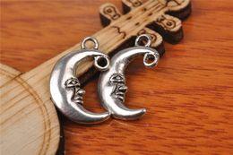 Wholesale Wholesale Charm Connectors - Top Sale 200pieces 18mm Moon luna Charms Bead Spacer connector Pendant 7199 925 Tibet Silver DIY Jewelry Beads Europe Bracelet Necklace