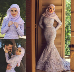 Wholesale Royal Blue Brooches - Lavender High Neck Long Sleeve Fully Lined Mermaid Muslim Evening Dresses With Free Hijab Lace Appliques Chapel Train Engagement Gowns