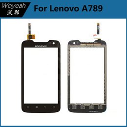 Wholesale Wholesale Lenovo A789 - Lenovo A789 Touch Screen Digitizer Panel Glass Parts Black Glass Lens With Connector Flex Cable For Lenovo Repair Replacement Parts
