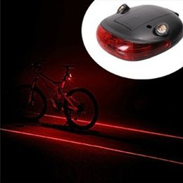 Wholesale Laser Cycle Lights - 1pc Waterproof Bicycle Laser Tail Light 2 Lasers + 5 LEDs Bike Safety Red Rear Warning Light Cycling Safety Caution Lamp