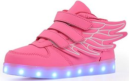 Wholesale Glow Usb - Children Led Shoes For Kids Wings Shoes Casual Colorful Glowing Baby Boys and Girls Sneakers USB Charging Light up Shoes Multi 6 Color