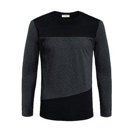 Wholesale Color Block Sleeves - Mens T Shirts Fashion 2015 Long Sleeve T-shirt Color Block Decoration T Shirt Casual Slim Fit Tee
