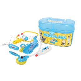 Wholesale Medical Toy Doctor Set - Wholesale-Portable Kids Child Simulation Medical Kit Toy Doctor Role PRETEND Play Set Blue