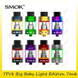 Wholesale Led Tank Lighting - Authentic SMOK TFV8 Big Baby Light Edition Tank 5ML 2ML EU Capacity with LED Lights Atomizers For Original V8 Baby Coil 100% Genuine