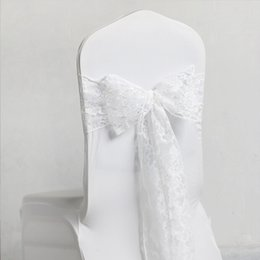 Wholesale good chairs - Good Quality New White Lace Chair Covers Sash Bows 12*275 cm Wedding Banquet Seatback Yarn For Party Supplies Free Shipping