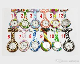 Wholesale Banding Medical - Newest fashion Silicone Colorful Prints Medical Nurse Watch Patterns Fob Quartz Watch Soft band brooch Nurse Watch 11 patterns LB56-03