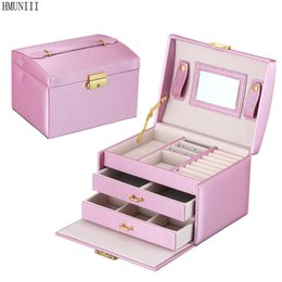Wholesale Bracelet Organizer Box - Hmunii Large Capacity Jewelry Container Pu Leather Bracelet Necklace Jewelry Box Cosmetic Makeup Beauty Case Jewellery Organizer Box