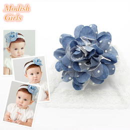 Wholesale Wholesales Resale - 2016 Teenagers Headbands Baby Girls Flower Design Hairbands Cute Girls Baby Infant BLue Color Tulle Flower Lace Headband Resale ad Wholesale