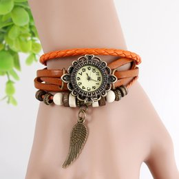 Wholesale Vintage Sale Tags - Discount sale Vintage Ladies Watch Wings Pendant Item Hours Bead Bracelet Watches Retro Braided Genuine Leather Strap Watch for women