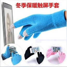 Wholesale colorful cotton gloves - Fashion Christmas gift Colorful Winter warm touch glove Cotton capacitive screen conductive gloves for iphone X 8 7 6 6S 5 plus ipad tablet