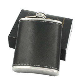 Wholesale Hip Flask Silver - Leather Whiskey Flagon Leak Proof 6oz Stainless Steel Hip Flasks Outdoor Portable Wine Pot 7 35ls C R
