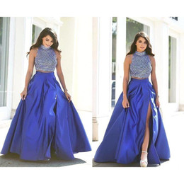 Wholesale Ivory Taffeta Covered Buttons - Vestidos 2016 Arabic Two Pieces Prom Dresses Royal Blue Beaded Top Slit Side Sexy Party Dresses Formal Gowns BO9191