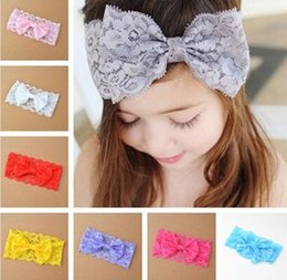Wholesale Handmade Hair Bow Cute - 10 Colors Children Girls Cute Lace Bow Headbands Baby Girls Hotsale Hairband For Photography Handmade Hair Accessories B3898