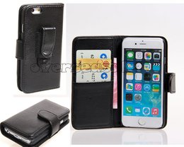 Wholesale Cover Clips - Belt Clips Holster Clip Flip Wallet leather case skin Credit card slots back cover cases Pouch For Iphone 5 5S SE 5C Iphone 7 6 6S Plus 1pcs