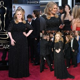 Wholesale famous triangles - Famous British Singer Adele Black Plus Size Formal Evening Dresses Jewel Neckline Beaded Crystals Floor Length Celebrity Party Gowns ba1295
