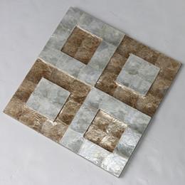 Argentina Azulejo de concha de Capiz, color blanco dorado natural, patrón en 3D para mosaico de fondo azulejo de mosaico de madreperla # L014 Suministro