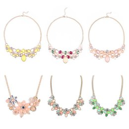 Wholesale Candy Colored Necklace - 2016 New Candy-colored Hot Baroque Exaggerated Drop Necklace Short Paragraph Clavicle Chain Necklace 12pcs   lot Free shipping
