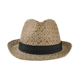 Wholesale Straw Jazz Hats - Wholesale-New Fashion Women Men Straw Hat Linen Hollow Out Summer Sunbonnet Jazz Hat Unisex Khaki Top Quality Chapeu Feminino