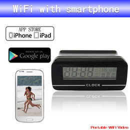 Wholesale Wireless Camera Computers - Clock IP spy Camera wireless WiFi camera mini camcorders mini camera hidden camera DVR For Android IOS Phone Tablet Computer