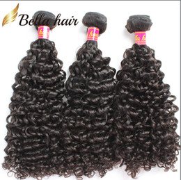 Wholesale Kinky Hair Extensions Products - Peruvian Virgin Humanhair Extensions Kinky Curly Human Hair Weaves Queen Beauty Products Cheap Bellahair Natural Color 3PC 7A