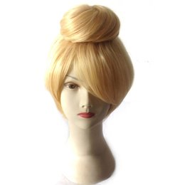 Wholesale Anime Princess Cosplay - WoodFestival anime princess tinkerbell 30cm short blonde cosplay wig adult size tinker bell full hair wigs synthetic fiber wigs