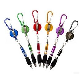 Wholesale Retractable Carabiner - 5 Colors Retractable Badge Reel Golf Scoring Ballpoint Pen Belt Clip Carabiner Travel Keychain Pen Snap Hook
