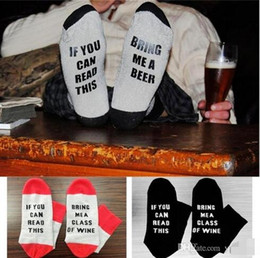 Wholesale Socks Big Foot - If You Can Read This Bring Me a Glass Of Wine Beer Socks Unisex Winte Socks Big Kids Foot Letter Christmas Socks 20pair lot