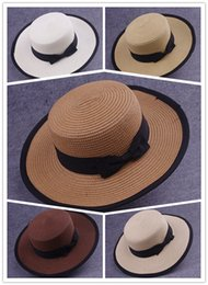 Wholesale Straw Hat Womens Fashion - Beach Hat Womens Costume Beach Hat Fashion Womens Summer Pure Color and Lace Costume Hot Womens Sweet Straw and Comfortable UV Hat