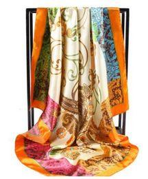 Wholesale Silk Flower Scarf Big - New Brand Women Fashion Silk Scarf Flower Square Satin Scarves Big Size Head Beach Shawl Neckerchief 90cm*90cm 94