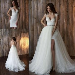 Wholesale Bridal Sheer Fabric - Fashion Two Pieces Wedding Dresses Spaghetti Ruched Lace With Removable Train A line Tulle Fabric Wedding Bridal Gowns Custom made