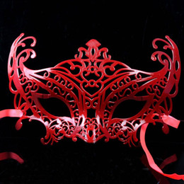 Wholesale Sexy Masquerade Ball Costumes - 2017 New Arrival Limited Slipknot Mascaras Masquerade Hollow Mask Costume Party Halloween Christmas Women Sexy Masks Half-face Lace for Ball