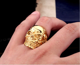 Wholesale Stainless Steel Biker Skull Rings - Wholesale-Drop Ship 2016 Fashion Ring Stainless Steel Rings For Man Big Tripple Skull Ring Punk Biker Jewelry