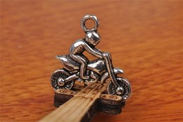 Wholesale Connector Motorcycle - Top Sale 50pieces 21mm motorcycle race Charms Bead Spacer connector Pendant 7194 925 Tibet Silver DIY Jewelry Beads Europe Bracelet Necklace