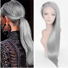 Wholesale Wig Long Grey - 100% Human Hair Wig Grey Full Lace Wigs Silk Straight Front Lace Human Hair Wig Brazilian Virgin Hair Grey Wig For Black Women