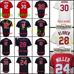 Wholesale Green Joe - Men's #12 Francisco Lindor 28 Corey Kluber 24 Andrew Miller jersey stitched 10 Edwin Encarnacion 30 Joe Carter Baseball Jerseys